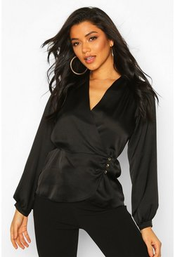 Womens Black Satin Button Detail Wrap Blouse