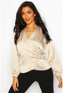 Womens Champagne Satin Button Detail Wrap Blouse
