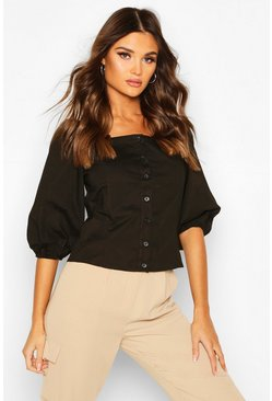 Black Square Neck Puff Sleeve Blouse