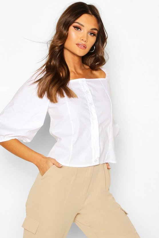 Womens White Square Neck Puff Sleeve Blouse