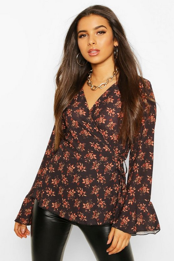 Floral Print Wrap Flare Cuff Blouse