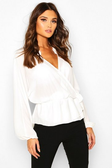 Ivory Ruffle Neck Wrap Blouse