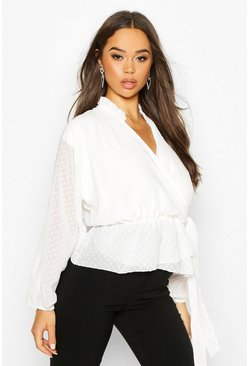 Womens White Dobby Spot Wrap Blouse