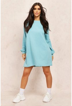 Teal Oversized Sweat Dress