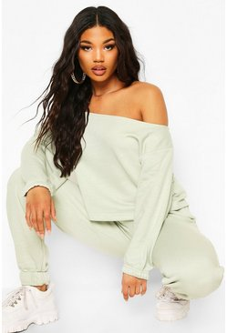 Sage Mix & Match Off Shoulder Oversized Sweat