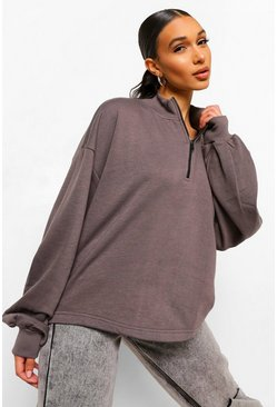 Washed black Mix & Match Edition Zip Oversized Sweat