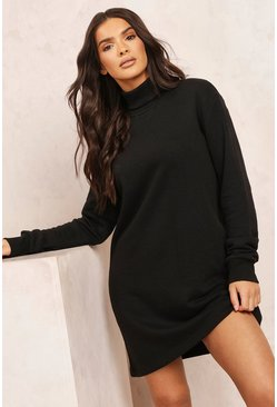 Black Mix & Match Edition Roll Neck Sweat Dress