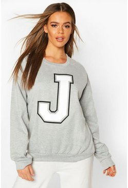 Grey J Initial Slogan Oversized Sweat