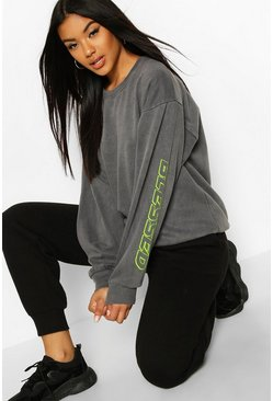 Oversized Washed Blessed Slogan Sweat, Charcoal