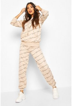 Woman Signature All Over Print Oversize Tracksuit, Sand
