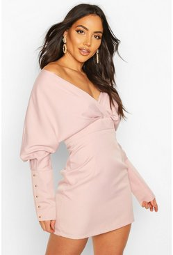 Womens Rose Off The Shoulder Mini Dress