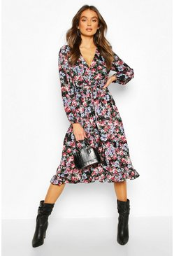Womens Black Floral Print Ruffle Midi Tea Dress