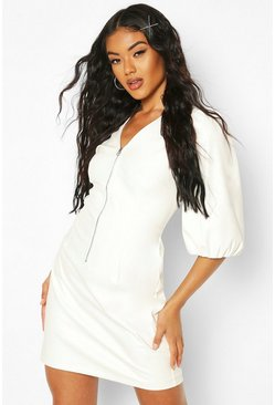 White Puff Sleeve PU Mini Dress