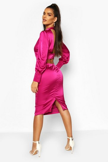 Magenta Satin Low Back Button Detail Midi Dress