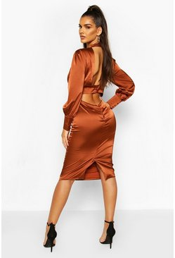 Toffee Satin Low Back Button Detail Midi Dress