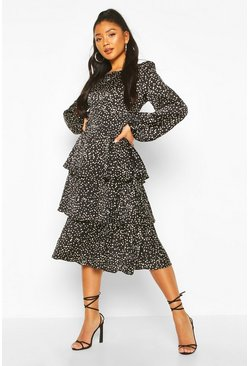 Dalmation Spot Ruffle Midi Dress, Black