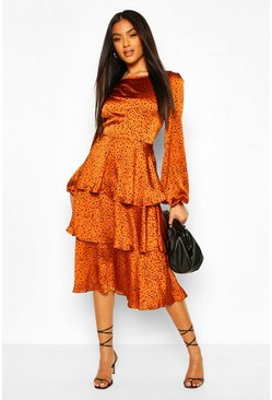 Orange Dalmation Spot Ruffle Midi Dress
