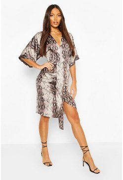 Snake Print Kimono Sleeve Midi Dress, Brown