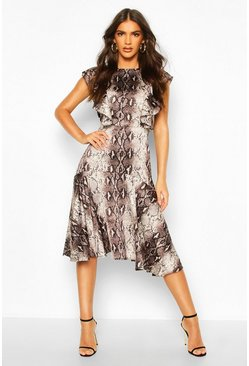 Womens Brown Satin Snake Print Ruffle Skater Dress