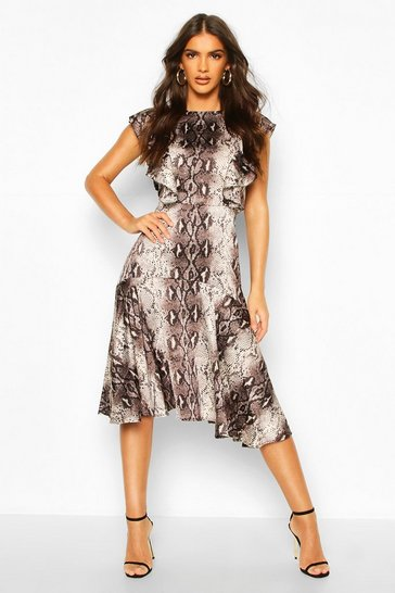 Brown Satin Snake Print Ruffle Skater Dress