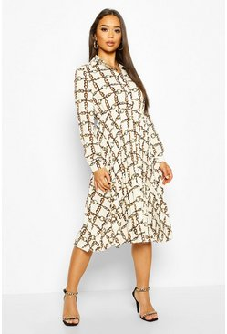 White Chain Print Pleated Midi Dress