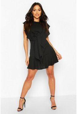 Black Ruffle Tie Detail Mini Shift Dress
