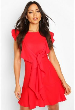 Ruffle Tie Detail Mini Shift Dress, Red