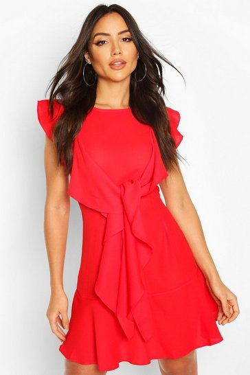 Red Ruffle Tie Detail Mini Shift Dress
