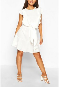 White Ruffle Tie Detail Mini Shift Dress