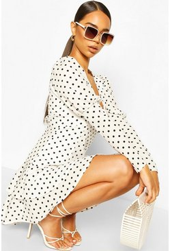 White Polka Dot Puff Sleeve Tiered Hem Mini Dress