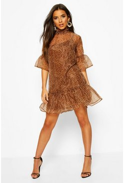 Leopard Print Organza Mesh Shift Dress, Brown