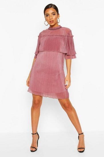 Mauve Plisse Ruffle Neck Shift Dress
