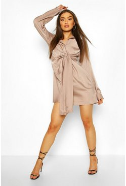 Taupe Tie Detail Shirt Dress
