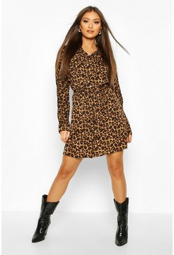 Leopard Print Belted Shirt Dress, Brown