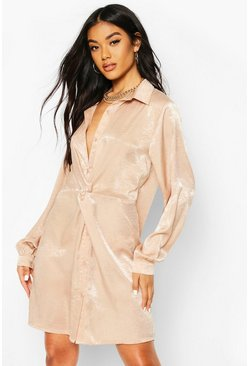 Nude Twist Front Shirt Dress