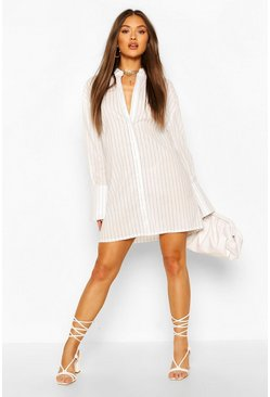 Stripe Oversized Shirt Dress, White