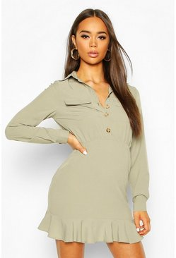Frill Hem Button Shirt Dress, Sage