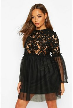 Black Lace Top Mesh Smock Dress
