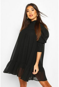 Puff Sleeve Ruffle Neck Smock Dress, Black