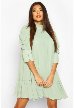 Sage Puff Sleeve Ruffle Neck Smock Dress