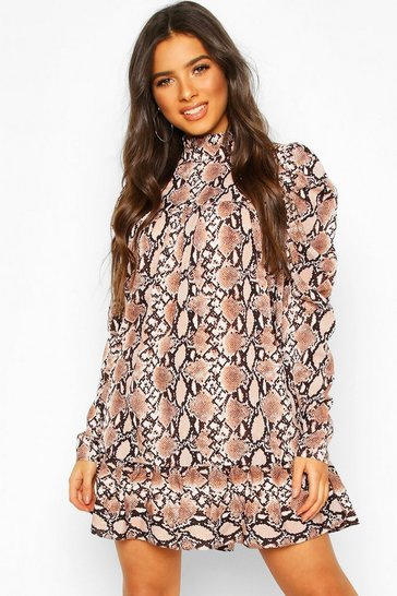 Brown Puff Sleeve Ruffle Neck Smock Dress