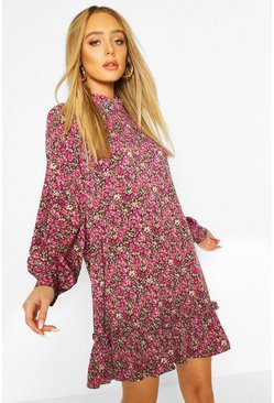 High Neck Dusty Floral Smock Dress, Pink