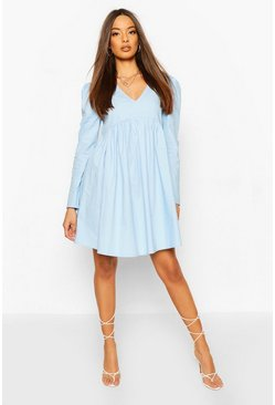 Blue Cotton Puff Sleeve Smock Dress