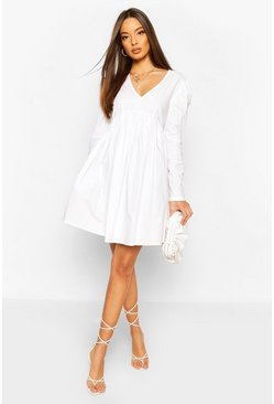 White Cotton Puff Sleeve Smock Dress