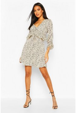 Cream Dalmation Spot Ruffle Smock Dress