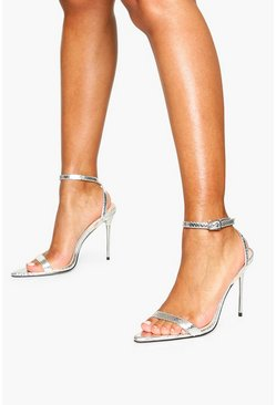Silver Metal Stiletto Heel Pointed 2 Parts