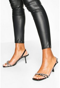 Black Diamante Low Heel Sandals
