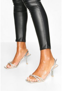 Silver Diamante Low Heel Sandals