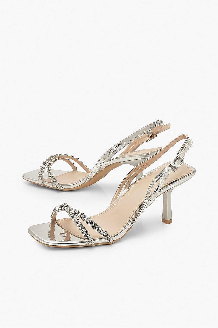 Diamante Low Heel Sandals | boohoo Australia