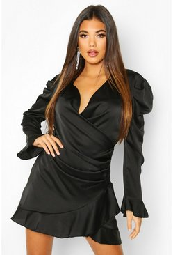 Satin Wrap Frill Shift Dress, Black